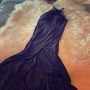 Black long cocktail dress